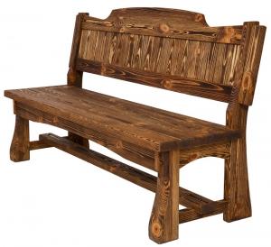Mobilier antichizat - banca cu spatar din lemn antichizat