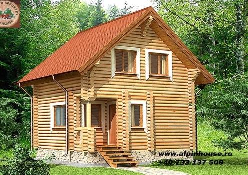 Casa de vacanța 2 din lemn rotund calibrat cu o suprafața construită de 58 m2 , dispusă parter și mansarda .Parterul este compus din camera de zi baie și sauna iar mansarda 2 dormitoare și o baie .