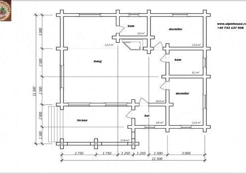 Casa de vacanța 6 din lemn rotund calibrat sau casa de locuit permanent, poate fi executata din lemn rotund calibrat cu dimensiuni cuprinse între 160 mm și 300 mm in funcție de preferințele clientului ! Casa este dispusă pe parter cu o suprafața de 132,25 mp și este compusă din terasa, 2 bai , living cu Bucătărie deschisă 2 dormitoare și hol proiectul poate suferii orice modificare in funcție de necesitatile clientului.