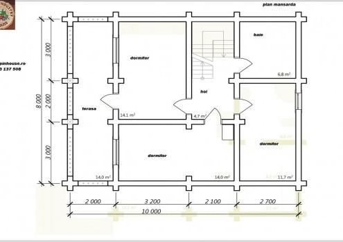Casa de vacanța 7 din lemn rotund calibrat sau casa de locuit permanent , ce poate fi executata din lemn rotund calibrat cu dimensiuni cuprinse între 160 mm și 300 mm in funcție de preferințele clientului ! Casa este dispusă pe parter și mansarda cu o suprafața de 175 mp și este compusă din 2 terase , 2 bai , living cu Bucătărie deschisă 3 dormitoare ,hol și spațiu tehnic.