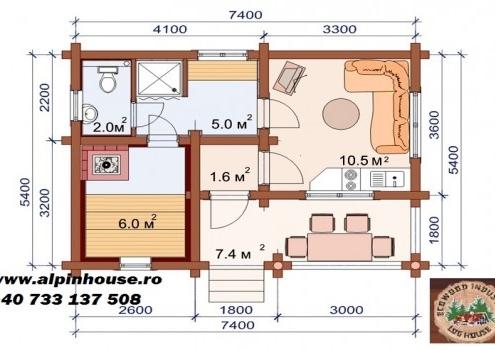 Casuta de grădina 1 sau sauna din lemn rotund calibrat 160 mm diametru dispusă pe parter având in componenta camera de zi , baie, hol , terasa și sauna! Suprafata construită 40 mp! Proiectul poate suferi orice modificare in funcție de necesitatile clientului.