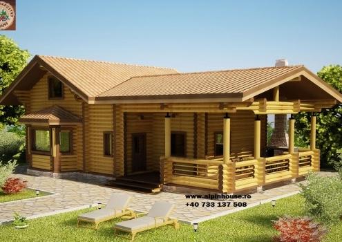 Casa de vacanța 10 din lemn rotund calibrat sau casa de locuit permanent poate fi executata din lemn rotund calibrat cu dimensiuni cuprinse între 160 mm și 300 mm in funcție de preferințele clientului! Casa este dispusă pe parter și mansarda cu o suprafața de 180 mp casa are in componenta living baie Bucătărie , spațiu tehnic hol și 2 dormitoare. Proiectul poate suferii orice modificare in funcție de necesitatile clientului