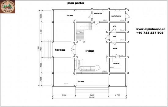 Casa de vacanța 11 din lemn rotund calibrat sau casa de locuit permanent poate fi executata din lemn rotund calibrat cu dimensiuni cuprinse între 160 mm și 300 mm in funcție de preferințele clientului ! Casa este dispusă pe parter și mansarda cu o suprafața de 188 mp casa are in componenta terasa pe toată suprafața fațadei living baie bucătărie , spațiu tehnic hol și 1dormitoare. Proiectul poate suferii orice modificare in funcție de necesitatile clientului.