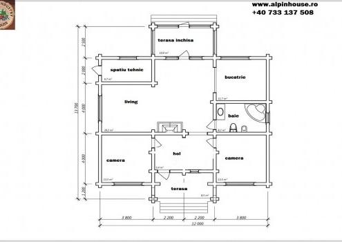 Casa de vacanța 13 din lemn rotund calibrat sau casa de locuit permanent poate fi executata din lemn rotund calibrat cu dimensiuni cuprinse între 160 mm și 300 mm in funcție de preferințele clientului. Casa este dispusă pe parter cu o suprafața de 164 mp casa are in componenta living baie Bucătărie spațiu tehnic hol și doua dormitoare . Proiectul pote suferii orice modificare in funcție de necesitatile clientului