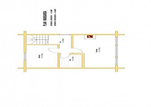 Casa de vacanța 14 din lemn rotund calibrat sau casa de locuit permanent poate fi executata din lemn rotund calibrat cu dimensiuni cuprinse între 160 mm și 300 mm in funcție de preferințele clientului. Casa este dispusă pe parter și mansarda cu o suprafața de 114mp casa are in componenta living baie Bucătărie și 2 dormitoare. Proiectul poate suferii orice modificare in funcție de necesitatile clientului