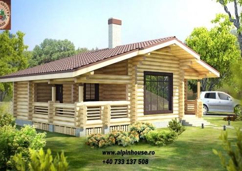 Casa de vacanța 5 din lemn rotund calibrat sau casa de locuit permanent, poate fi executata din lemn rotund calibrat cu dimensiuni cuprinse între 160 mm și 300 mm in funcție de preferințele clientului!
