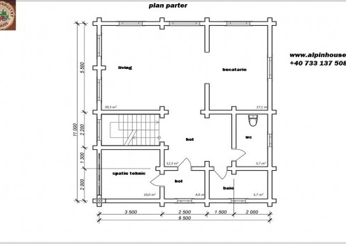 Casa de vacanța 8 din lemn rotund calibrat sau casa de locuit permanent poate fi executata din lemn rotund calibrat cu dimensiuni cuprinse între 160 mm și 300 mm in funcție de preferințele clientului! Casa este dispusă pe parter și mansarda cu o suprafața de 209 mp și este compusă din , 2 bai , living cu Bucătărie deschisă 3 dormitoare ,hol și spațiu tehnic. Proiectul poate suferi orice modificare in funcție de necesitatile clientului.