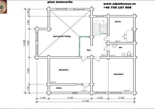 Casa de vacanța 9 din lemn rotund calibartsau casa de locuit permanent poate fi executata din lemn rotund calibrat cu dimensiuni cuprinse între 160 mm și 300 mm in funcție de preferințele clientului ! Casa este dispusă pe parter și mansarda cu o suprafața de 280mp și este compusă din 2 terase , 2 bai , living cu bucătărie deschisă 3 dormitoare ,birou hol și spațiu tehnic. Proiectul poate suferi orice modificare in funcție de necesitatile clientului.