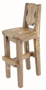 Mobilier antichizat - scaun inalt pentru bar din lemn antichizat