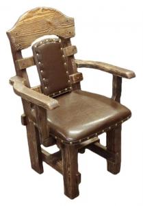 Mobilier antichizat - scaun tapitat pentru restaurant din lemn antichizat